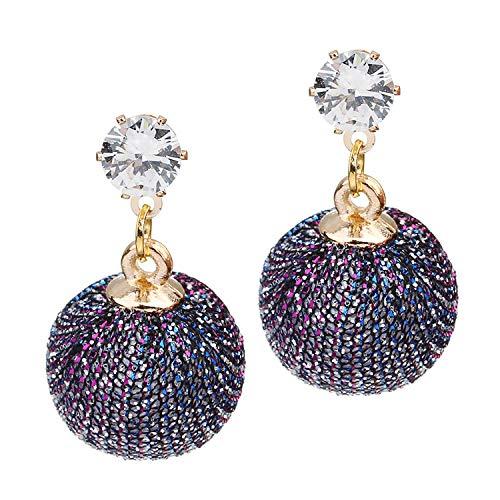 Lingsai Pseol 2019 New Purple, Deign Copper Inlay Zircon Fabric Ball Shape Women