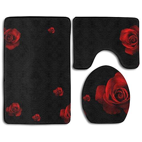 (Red Rose Black Background Bathroom Rug Sets 3 Piece Non-Slip Floor Mat Contour Rug Toilet Lip Cover)