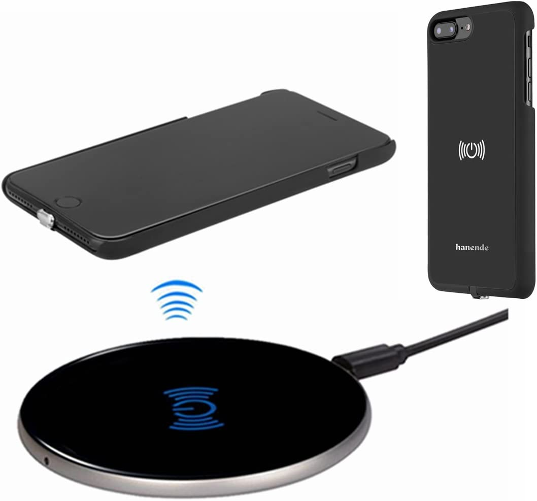 Wireless Charger Kit for iPhone 7 Plus, hanende [Sleep-Friendly] Qi Wireless Charging Pad and Wireless Receiver Case for iPhone 7 Plus (Jet Black)
