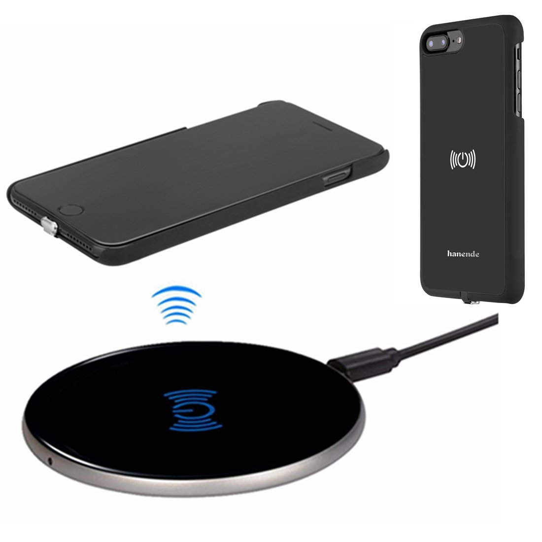 buy popular 04c77 fc609 Wireless Charger Kit for iPhone 7 Plus, hanende [Sleep-Friendly] Qi  Wireless Charging Pad and Wireless Receiver Case for iPhone 7 Plus (Jet  Black)