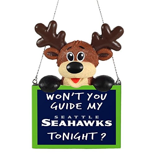 NFL Reindeer With Sign Ornament Seattle Seahawks