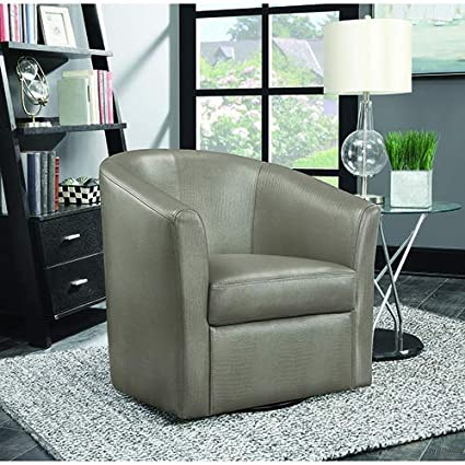 Coaster 902726-CO Faux Leather Upholstered Swivel Accent Chair, Champagne