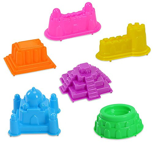 WEKA 6Pcs Unisex Multicolor Big Motion Sand Castle Building Model Mold Beach Fun Toys Kit or Gift for Baby Kids Children