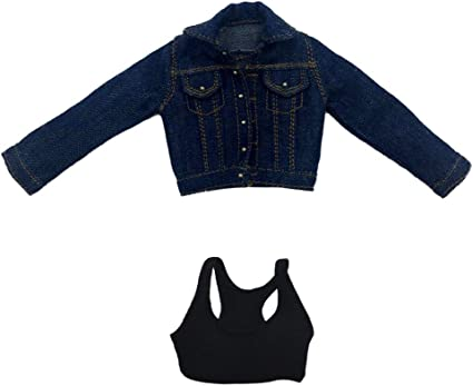 "1//6 Scale Denim Jacket /& Jeans with Vest /& Shoes for 12/"" Female Figure Model"