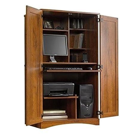 Elegant Bowery Hill Computer Armoire In Abbey Oak