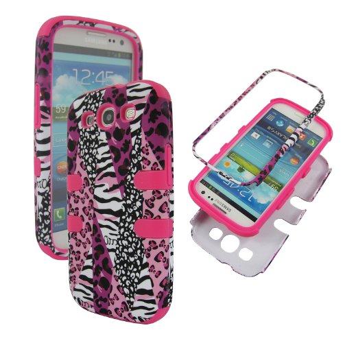 Pink Animal Suffari Samsung Galaxy S3 S 3 III S960l (Tracfone/net10/straight Talk)tuff Hybrid Rugged High Defender Protector Impact Combo Cover Rubberized Skin Faceplates