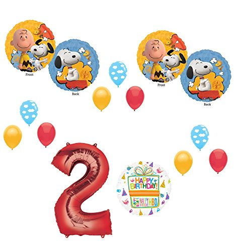 Charlie brown and Snoopy Peanuts 2nd Birthday Party Supplies and Balloon Bouquet Decorations -
