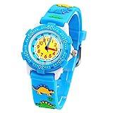 ELEOPTION Waterproof 3D Cute Cartoon Digital Silicone Wristwatches Time Teacher Gift for Little Girls Boy Kids Children (Blue Dinosaur)