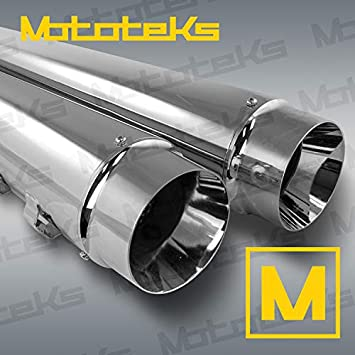 """4/"""" Chrome Slip-On Mufflers Exhaust Pipe 2/"""" inlet For 95-16 Touring"""