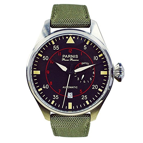 WhatsWatch 47mm parnis black dial automatic power reserve deployment clasp mens watch (Power Reserve)