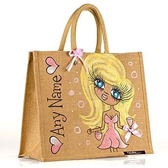 e07edd70172f51 ClaireaBella Large Personalised Jute Bag: Amazon.co.uk: Clothing