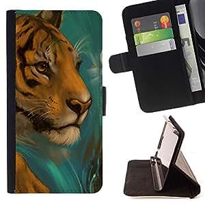 BullDog Case - FOR/LG OPTIMUS L90 / - / tiger drawing paintin watercolor cat face /- Monedero de cuero de la PU Llevar cubierta de la caja con el ID Credit Card Slots Flip funda de cuer
