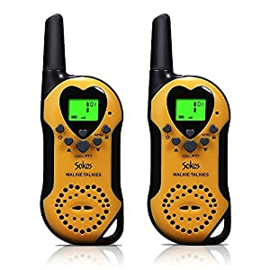 Walkie Talkies for Kids, 22 Channel Child Walkie Talkies 2 Way Radio 3 Miles (Up to 5Miles) FRS Handheld Walkie Talkie for Kids (Pair) (Yellow)