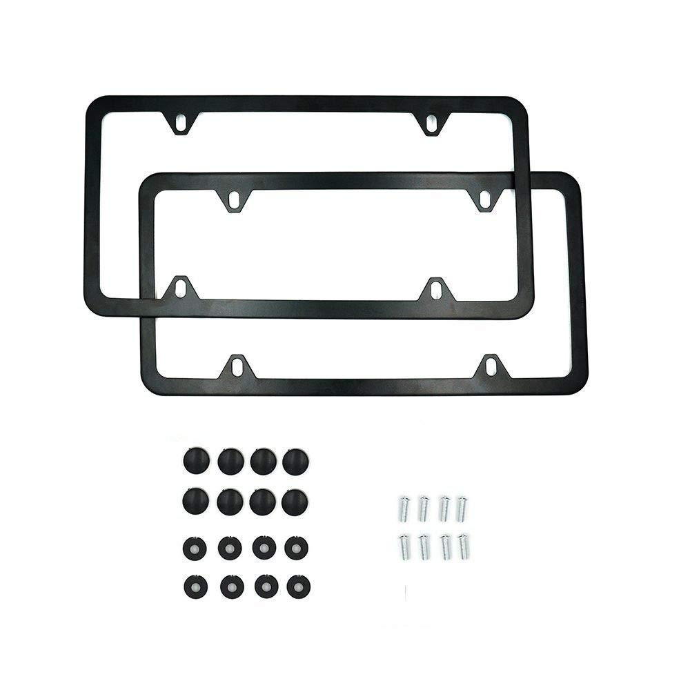 ZYTC Silver Licence Plate Frame 2 PCS Stainless Steel Car Licence Plate Cover Slim Design 2 Holes with Bolts Washer Caps for US Vehicles