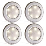 Tap Lights 5-LED USB Rechargeable Push Lights Touch Activated Stick On Battery Powered Puck Lights for Wardrobes, Closets, Cabinets, Cupboards, Counters and Storage Rooms, 4 Pack
