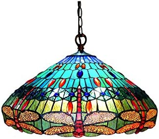 Chloe CH12002BD24-DH3 Scarlet Hanging Pendant Lamp with 24 Shade, 10 x 24 x 24, Multicolor