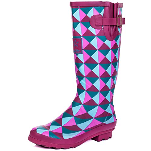 (Spylovebuy Adjustable Buckle Flat Welly Rain Boots Geo Purple Sz 8)