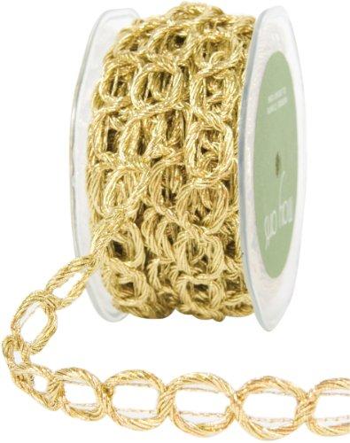 May Arts 5/8-Inch Wide Ribbon, Gold Chain Cord Chain Art