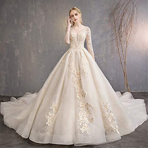 GLMPQ Women's Wedding Dress Bridal Dresses Floral Bride Lace Evening Dress V Neck Straps Floor Length Wedding Dress for Wedding (Color : Champagne, Size : M)