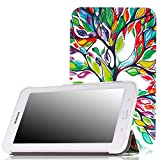 MoKo Samsung Galaxy Tab E Lite 7.0 Case - Ultra Slim Lightweight Smart-shell Stand Cover Case for Galaxy Tab E lite 7.0 SM-T113 & Tab 3 Lite T110 / T111 7.0 Inch Android Tablet, Lucky TREE