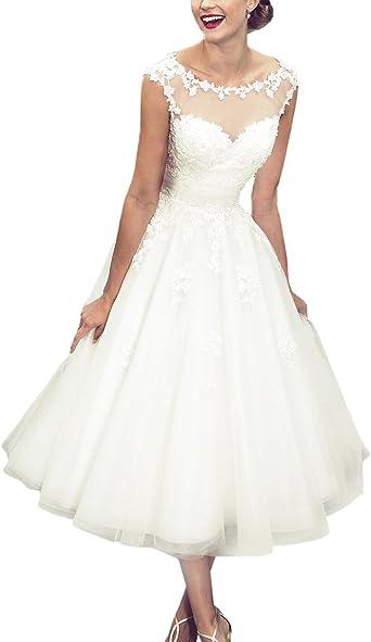 Vintage Short Wedding Dress Tea Length White Ivory Bridal Gown Size 6 8 10 12 14