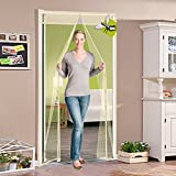 Q&F Magnetic Screen Door,Mesh Curtains For French Doors-sliding doors- Fishing Boat-garage,Super Quiet,Hands Free,Toddler And Pet Friendly-Beige 95x240cm(37x94inch)