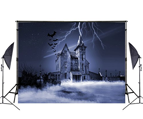 7X5ft Haunted House Photography Backdrop Halloween Theme Photography Background Can be Folded Without Wrinkle -