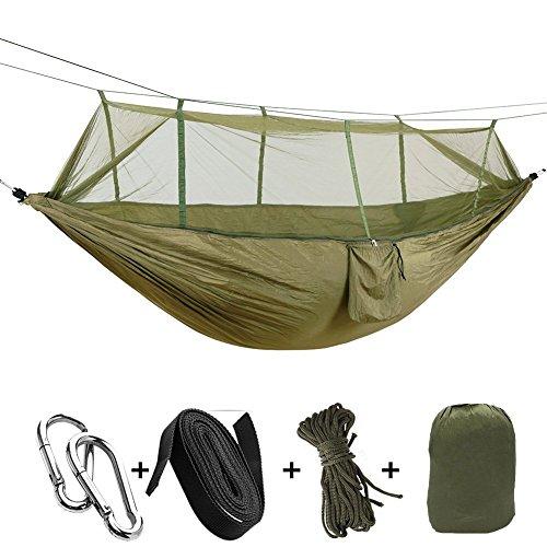 Camping & Hiking Hammock Mosquito Net Outdoor Hammock Nylon Fabric Hammock Lightweight Double Hammock for Travel Beach Yard Backpacking Hiking Backyard (Army Green) (Army Mosquito Net)
