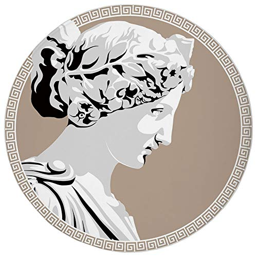 AZXGGV Round Rug Mat Carpet,Toga Party,Ancient Statue European Folk Beauty Muse Figure Divine Woman Picture Print,Pale Grey Tan,Flannel Microfiber Non-Slip Soft Absorbent,for Kitchen Floor ()