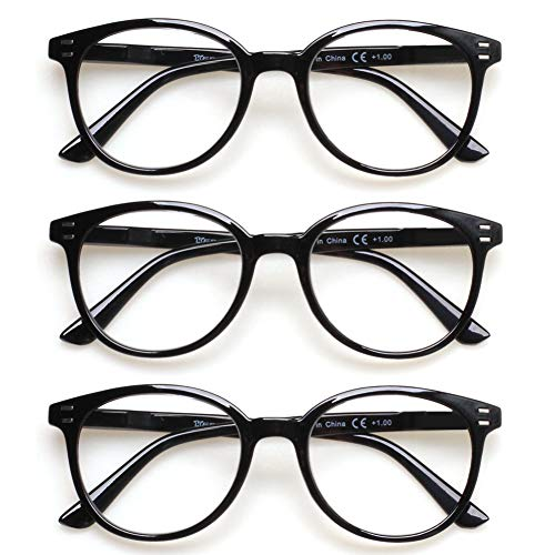 3 Pack Reading Glasses Spring Hinge Stylish Readers Black / Tortoise for Men and Women