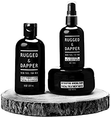 NEW All-In-One Essential Skincare Set For Men - Grooming Kit - Age + Damage Defense Facial Moisturizer - Daily Power Scrub Cleanser - Detox Mineral Clay Facial Mask - Natural & Certified Organic