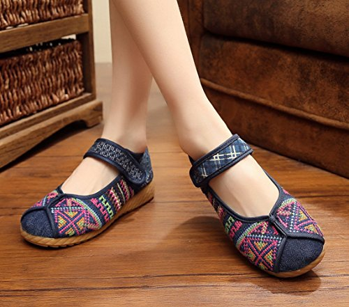AvaCostume Fashion Chinese Traditional Batik Patchwork Rubber Sole Mary Jane Shoes Blue v6JhAFzY