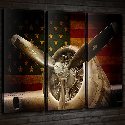 Vintage Fighter Bomber Head Propeller Canvas Prints Wall Art Pictures Warplanes print on canvas Retro Red and Yellow American Flag with Military Aircraft Black and White Metallic Body Plane 3 Panels