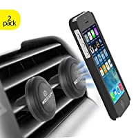 Magnetic Mount, WizGear [2 PACK] Universal Air Vent Magnetic Car Mount Phone Holder, for Cell Phones and Mini Tablets with Fast Swift-Snap Technology, - With 4 Metal Plates
