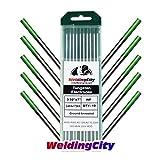 WeldingCity 10-pk Premium TIG Welding Tungsten Electrode Rod Pure (Green, EWP) 3/32'' x 7'' | 10-pcs