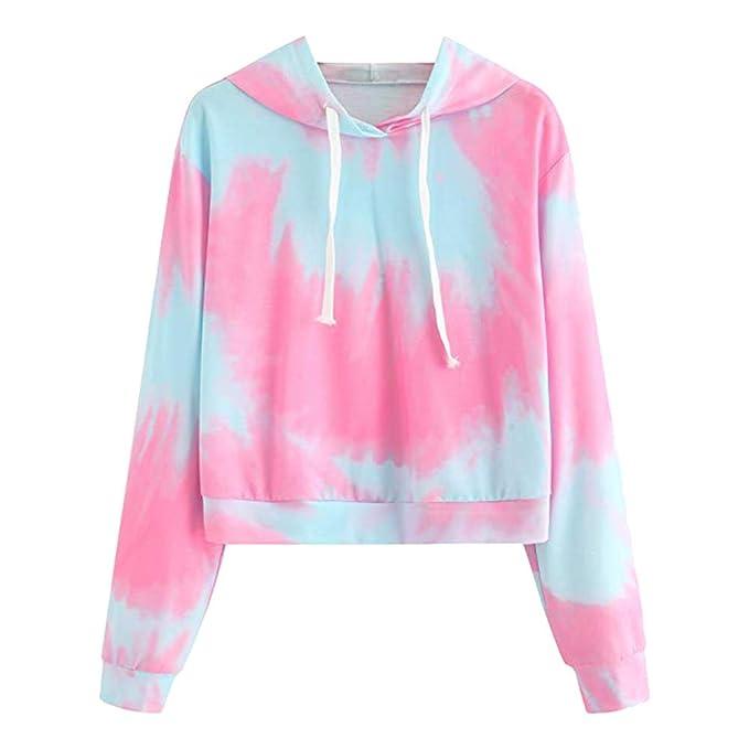 Adolescentes Chicas Sudaderas Cortas con Capucha Tumblr Estampado Casual Tops Blusas Camiseta para Mujer (Rosa