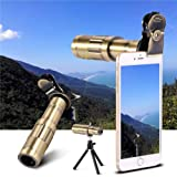 FidgetFidget Camera Lens Telescope 20x Optical Zoom Telephoto Clip On Universal for Cellphone Gold Samsung Galaxy A A3 A5 A7 A8