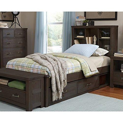 NE Kids Highlands Twin Bookcase Storage Bed in Espresso