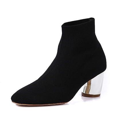 NIUJF Calcetines Elásticos De Tacón Alto Europeos Y Americanos Botas Zapatos Puntiagudos