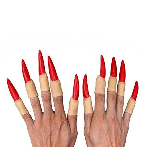 Halloween,Skuleer(TM) Halloween Day props vampire Zombie false Finger sets Ghost Witch Fingernails Halloween decoration]()