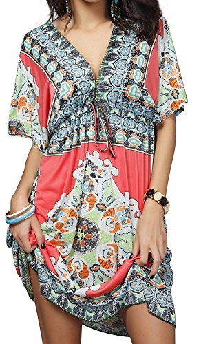 Angerella Women Sexy V-neck Sundress Bohemia Swimwear Bathing Suit Cover Ups,Rose Red 1,One Size