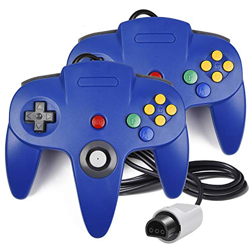(2 Pack N64 Controller, iNNEXT Classic Wired N64 64-bit Gamepad Joystick for Ultra 64 Video Game Console N64 System Mario Kart (Blue))
