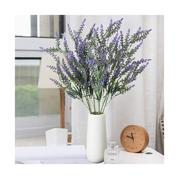 VILIVIT 27 in. H Larger Lavender Arrangement – Artificial Lavender Bush and Plants Spray for Wedding Decor and Table Centerpieces – Faux Purple Flowers (Set of 5)