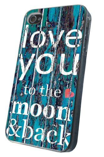 iphone 4 4S Cool Funky I Love You To The Moon and Back Design Fashion Trend Hülle Case Back Cover Metall und Kunststoff-Löschen Frame