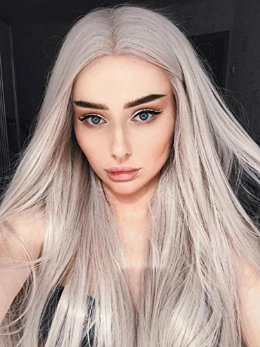 Echo Wig Long Straight Synthetic Lace Front Wig Glueless High Temperature Heat Resistant Fiber Hair Wigs For Women Grey (Really Cheap Wigs)