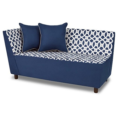 Kangaroo Trading Tween Chaise 2 Pillows-Loopy Pebbles/Navy Childrens Sofas
