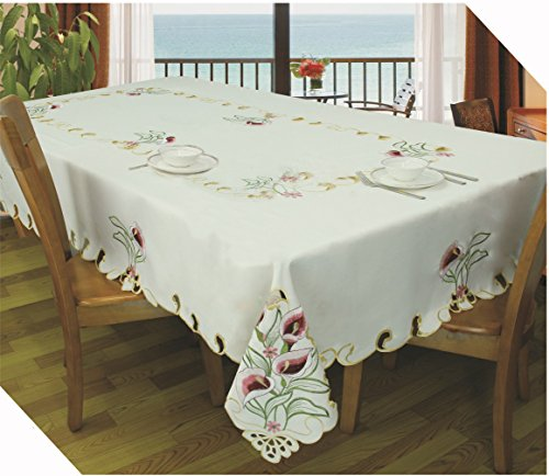 Royal Bedding Lily Table Cloth, Luxury Embroidered and Hand Cutwork Table Cloth, Top Dinner Kitchen Table Cover, 70 x 126 Inches, Beige and Pink