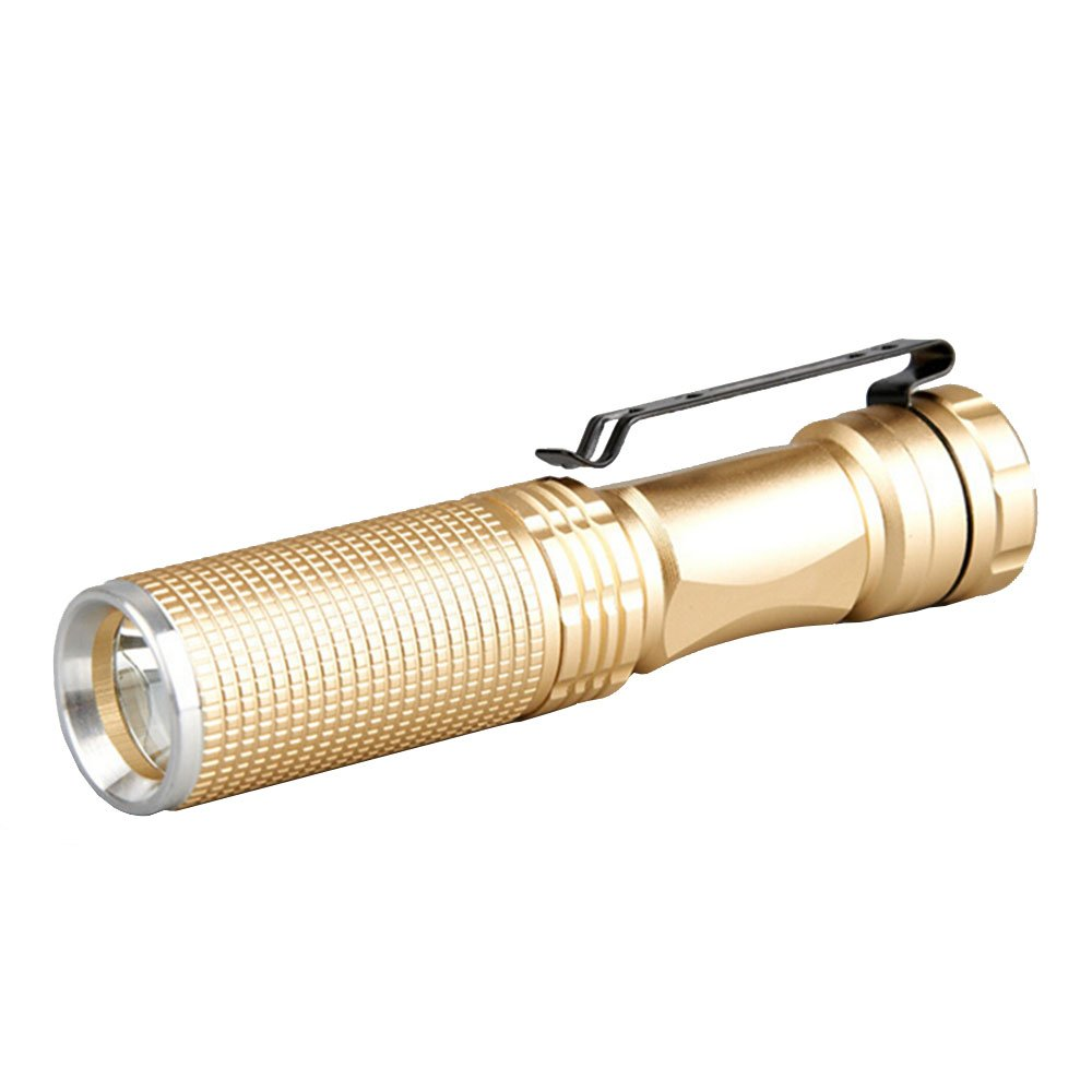 Modogirl Mini Outdoor Ultra Light Luxury Gold Q5 LED Tactical Flashlight, 350 Lumen Powerful Torch Waterproof with Rechargeable 14500 Battery (Battery Not Included) by Modogirl (Image #2)