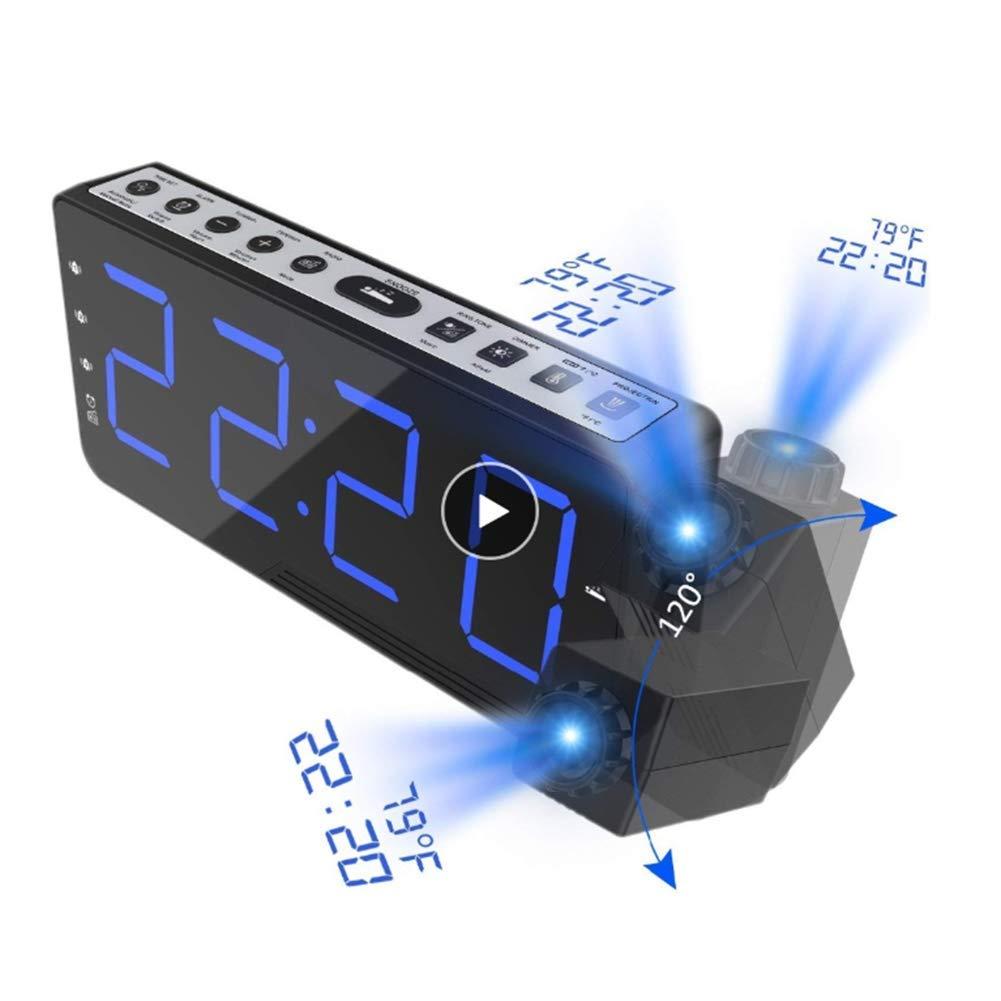 YL-light Projection Alarm Clock, FM Radio Alarm Clock with Time Temperature, Dual Alarm Clock with Dimmer, USB Charging, for Bedroom, Kitchen, Kids by YL-light