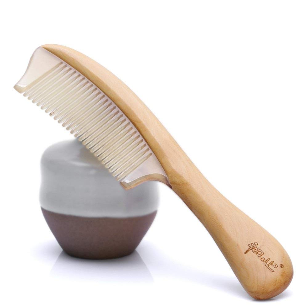 Drametree Sheep Horn Comb Massage Comb Sandalwood Comb With Handle Anti-static Anti-hair Loss Reduce Frizz And Massage Scalp (Color : Yellow) by Drametree